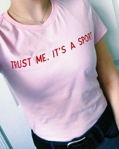 "Your new favorite tee has arrived! Go check out the new ""it's a sport tee"" on thefitequestrian.com This baby pink slogan tee will…"