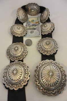 Large + Heavy 14+ozt Navajo CONCHO BELT buckle Sterling Silver heavily Stamped!