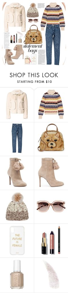 """Arm Candy: Statement Bag Teddy"" by ellie366 ❤ liked on Polyvore featuring Chloé, Sandro, Kate Spade, MICHAEL Michael Kors, Mischa Lampert, Witchery, Sonix, Tiffany & Co., Bobbi Brown Cosmetics and Essie"