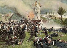Scontro tra la fanteria prussiana è quella francese a Plancenoit, 18 giugno 1815