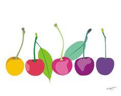 Kitchen art print -  Cherries -  illustration, 8x10, wall art. $20.00, via Etsy.