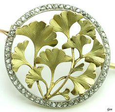 "Art Nouveau ""Ginkgo"" Brooch . 18K Gold, Platinum, Rose-cut Diamond. France 1900…"