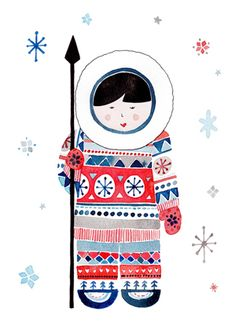 Eskimo By Felicity French French Illustration, Graphic Illustration, Gifts For Art Lovers, Lovers Art, Eskimo, Photo Images, Watercolor Cards, Christmas Greeting Cards, Art Plastique