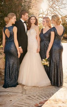 Sequin bridesmaid dresses, sparkly bridesmaid, glitter bridesmaids, mix and match bridesmaids, navy bridesmaid dress, fall wedding, winter wedding, bridesmaid and wedding dress available at The Bridal Boutique by MaeMe, Louisiana