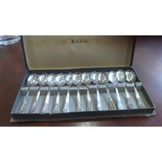Made in England silverplated sugar spoon full set of 12 in the original case. Sugar Spoon, Full Set, Antique Silver, Silver Plate, Plating, England, The Originals, Antiques, Antiquities