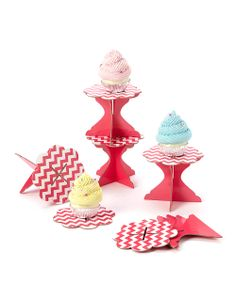 Pink Zigzag Cupcake Stand - Set of Six | Daily deals for moms, babies and kids