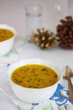 Curried Carrot and Sweet Potato Soup: This soup is elegant enough to serve at the start of a holiday dinner, but simple enough to whip up for a weeknight meal. - Rubies & Radishes