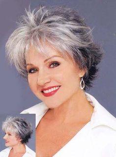 sassy coiffure courte pour les cheveux gris