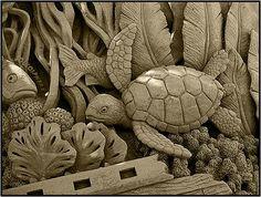 sand sculpture -- underwater scene (turtle, kelp, fish, coral, etc.)