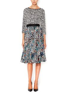 Lace Up Detail Dress with Printed Silk Skirt by Marchesa Voyage at Gilt