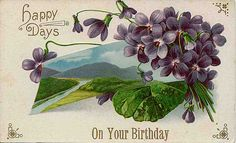 Vintage birthday wishes postcard with violets