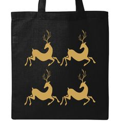Christmas holiday cute quartet of gold colored reindeer on a Tote Bag - Black Light Weight Cotton Tote Bag. Gold Christmas, Christmas Holidays, Cotton Tote Bags, Reusable Tote Bags, Christmas Gifts For Friends, Black Tote Bag, Reindeer, Cute, Kids