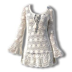 I love....100%Handmade Crochet Round Neckline Lace Long Sleeves Women's Sweater Dresses