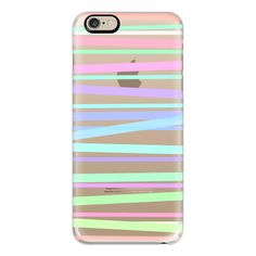 iPhone 6 Plus/6/5/5s/5c Case - Pastel Rainbow Stripes Transparent ($40) ❤ liked on Polyvore featuring accessories, tech accessories, iphone case, transparent iphone case, apple iphone cases, iphone cover case and slim iphone case