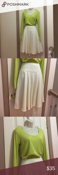 """Ralph Lauren Linen skirt Size 6 and Kenar S top Breezy fully lined drop-waist linen skirt (24"""" from waist to hem) and comfy long-sleeve Kenar green size M top. Dressy yet comfortable. The top is very lightweight and can be pushed up over elbow. Ralph Lauren Skirts Skirt Sets"""