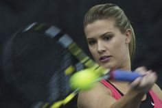 Canadian tennis player Eugenie Bouchard returns the ball during a practise session at Uniprix Stadium in Montreal, Sunday, December 22, 2013...