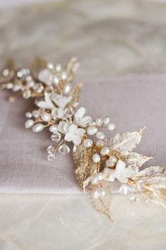 Wild Willows | Gold leaf bridal headpiece So pretty!