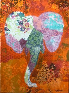 orange baby elephant This family of animals were created due to my personal love of Thai elephants emotional ties to the joy they give me. This group of animal friends are; the baby of the family orange Finished edged canvas - each sold separately Thai Elephant, Baby Elephant, Giraffe, Zebras, Elephants, Ties, Mixed Media, Give It To Me, Joy