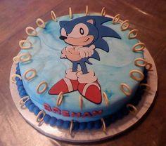 Sonic the hedgehog cake - atlantis Sonic Party, Sonic Birthday Parties, 7th Birthday, Birthday Cakes, Birthday Ideas, Bolo Sonic, Sonic Cake, Sonic Kuchen, Sonic The Hedgehog Cake