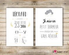Set of 2 custom birth poster - girl - - personalised birthday gift Diy Cadeau, 30 Gifts, Frame It, Custom Posters, Marketing And Advertising, Your Child, The Dreamers, Birthday Gifts, Etsy