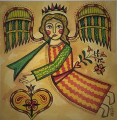 Fraktur Print Folk Art Angel Painting Pennsylvania German Old World