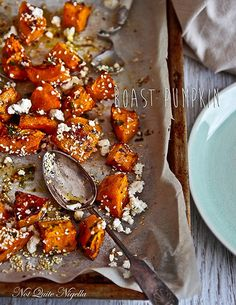 Feta and Honey Roasted Pumpkin    Why not keep it simple and roast up some pumpkin slices to mix with honey, sesame, and feta for a perfect pairing next to a rich, red-meat protein? Roasting pumpkin sweetens the flavor and accompanies salty cheeses and rich meats rather well.
