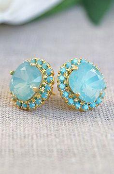 Crystal Stud Earrings, Turquoise Jewelry