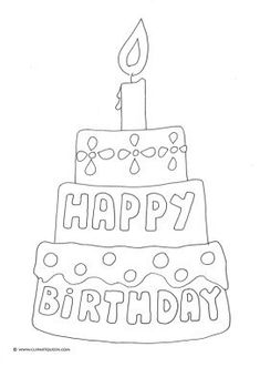 Birthday Cake Coloring Pages Happy