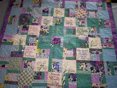 Lap quilt using floral scrap fabric and floral embroidery.