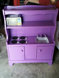 An Old Bookshelf Turned Into A Play Kitchen Sandpaper Burners Small Cake Pan Sink