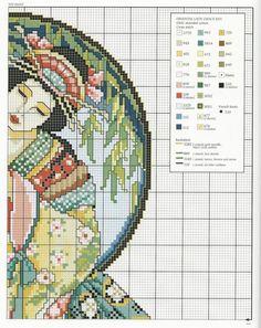Geisha and Bird part 2 Cross Stitch Angels, Cross Stitch Tree, Just Cross Stitch, Modern Cross Stitch, Counted Cross Stitch Patterns, Cross Stitch Charts, Cross Stitch Designs, Diy Embroidery, Cross Stitch Embroidery