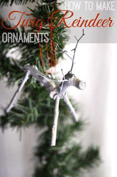 super cute twig reindeer handmade ornaments