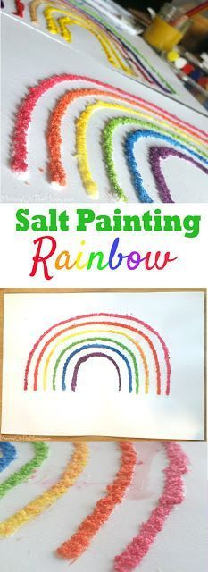 We came up with this salt painting craft rainbow for St. Patrick's Day but it is fun for kids to do any time of the year! patricks day painting on canvas Easy Rainbow Salt Painting Craft Cute Kids Crafts, Easter Crafts For Kids, Toddler Crafts, Craft Kids, Kid Crafts, Rainbow Crafts Preschool, Rainbow Activities, Science Crafts, Salt Painting