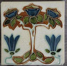 Art Nouveau Tile by Henry Richards c1906 tile ref 408 volume 1 #ArtNouveau