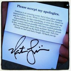 Nathan Fillion Apologies autograph