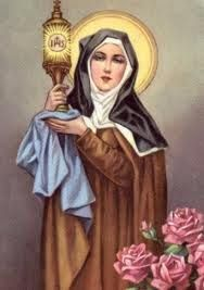 On 8/12 the Church celebrates the Feast Day of S. Clare in the Latin Calendar (on 8/11 in Ordinary Time). Saint Clare of Assisi is an Italian saint and one of the first followers of Saint Francis of Assisi. She founded the Order of Poor Ladies, a monastic religious order for women in the Franciscan tradition, and wrote their Rule of Life—the first monastic rule known to have been written by a woman. Following her death, the order she founded was renamed in her honor as the the Poor Clares...