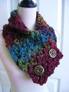 Crocheted Neck WarmerCowlScarfBurgundy Turquoise by RoseJasmine, $29.00