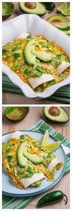 Chicken and Avocado Enchiladas in Creamy Avocado Sauce - Recipeez Blog