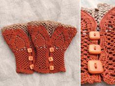 open work layered wrist warmers cuffs - pattern via etsy