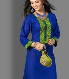 Buy Blue Plain Cotton kurtas-and-kurtis kurtas-and-kurti online