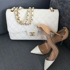Gianvitto Rossi shoes and Classic White Chanel Bag Beautiful Heels, Coco Chanel