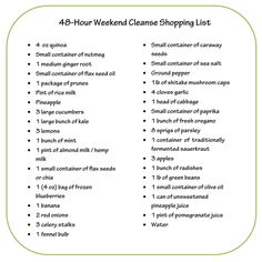 Printable version  Dr. Oz's 48-Hour Weekend Cleanse Shopping List