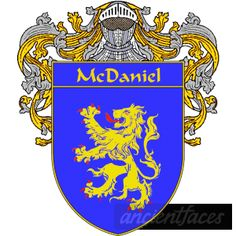 McDaniel coat of arms - Blue; A gold Lion Attacking