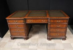 Walnut Regency Partnters Desk Walnut Carved Writing Table Partners Desk, Best Desk, Writing Table, Desk Chair, Regency, Office Desk, Drawers, Two By Two, Carving
