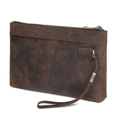 Dark Brown Leather Mens 8 inches Envelope Bag Wristlet Wallet Bag Zipper Clutch Wallet For Men Wristlet Wallet, Card Wallet, Small Shoulder Bag, Dark Brown Leather, Long Wallet, Envelope, At Least, Zipper, Bags