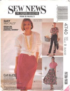 MCCALLS 4740 - FROM 1989 - UNCUT - MISSES SKIRT AND TROUSERS
