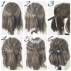 #easyhairstyles Girls School Hairstyles, Cute Hairstyles For Short Hair, Girl Short Hair, Quick Hairstyles, Braided Hairstyles, Amazing Hairstyles, Hair Girls, Wedding Hairstyles, Latest Hairstyles