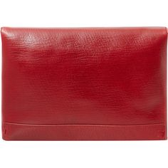 Lanvin Red Leather Envelope Clutch Bag ($895) ❤ liked on Polyvore