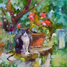 """Daily+Paintworks+-+""""Eddie+le+Chat+en+France""""+-+Original+Fine+Art+for+Sale+-+©+Dreama+Tolle+Perry"""