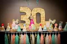 30th Birthday Party  Number 30 Giant Pinata in gold by Ipopolamus, $50.00 For back drop